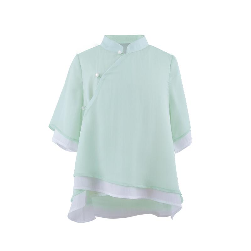 西子问女童汉服中国风夏宝宝汉服女童套装儿童唐装民国风童装绿荷