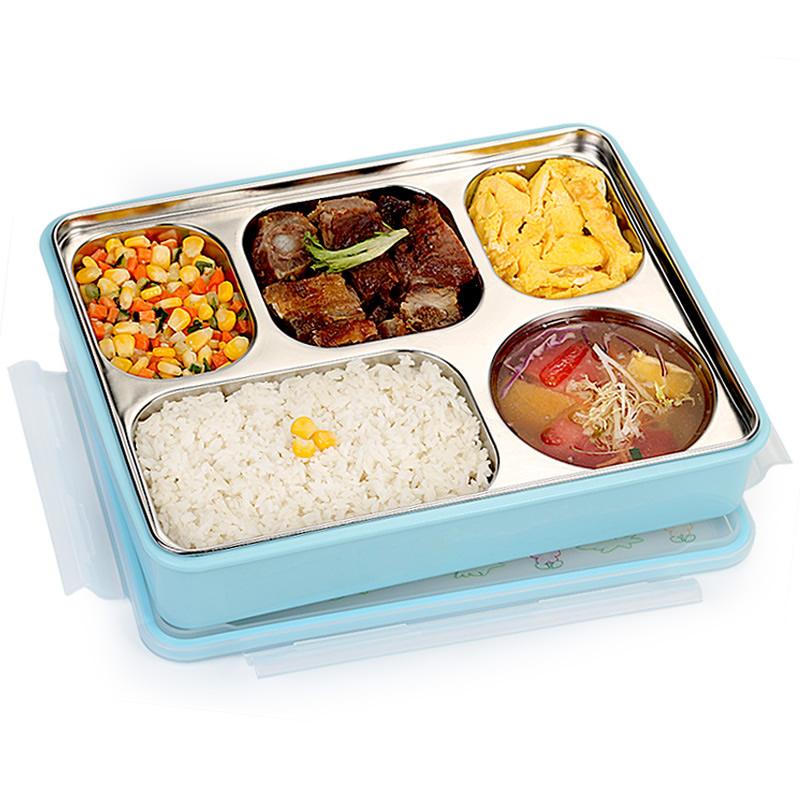 韩国304不锈钢成人分格餐盒上班族便当盒 小学生饭盒密封带盖女男
