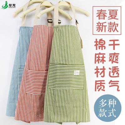 围裙韩版时尚包邮厨房可爱女棉麻男士工作服做饭女士围腰防油成人