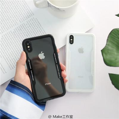 网红款简约黑色透明苹果X手机壳iphone6sp/7plus/8新款情侣软壳