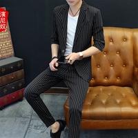 中袖西服韩版新款套装男士外套青年七分袖夏季个性潮流小西装薄男