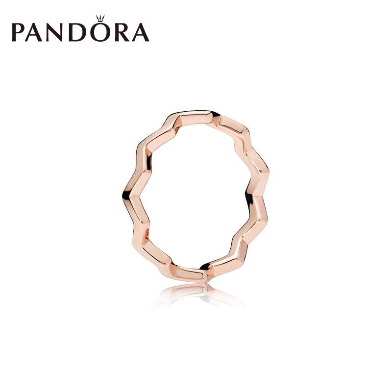 PANDORA潘多拉玫瑰金色经典之字形戒指187752叠戴个性情侣对戒图片