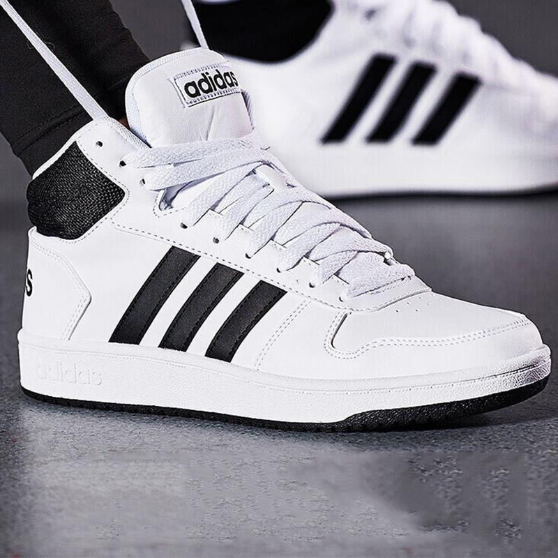 Adidas阿迪达斯男鞋2019冬季新款运动鞋白色休闲鞋高帮板鞋BB7208