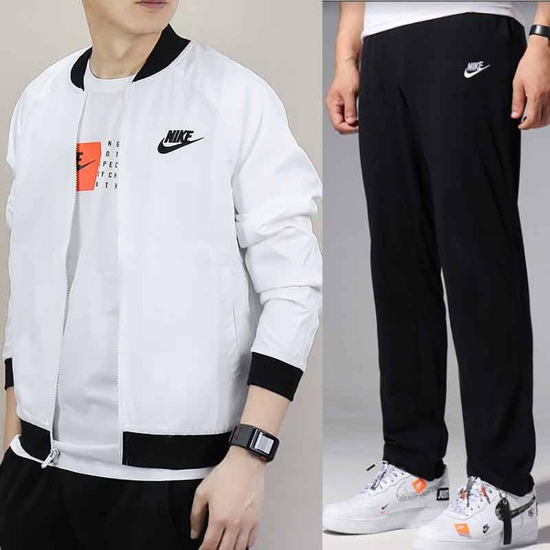 Nike耐克運動套裝男2018秋季新款梭織防風夾克棒球服外套針織長褲