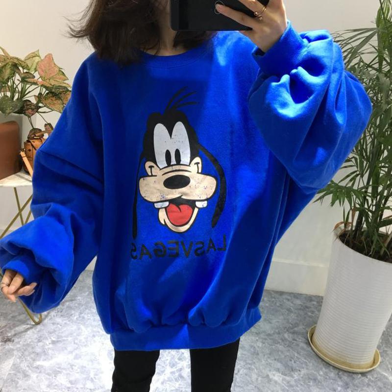 小楚家韩国进口19春宽松时尚高飞卡通印花蝙蝠袖中长款加绒卫衣女
