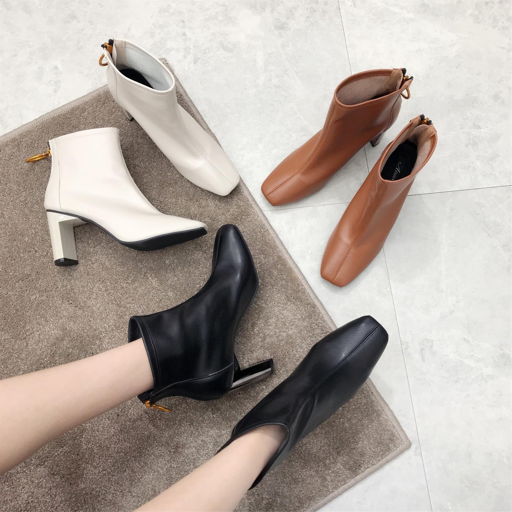 17秋冬款欧美风真皮方头粗跟靴潮流女鞋高跟后拉链短靴复古马丁靴