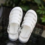 拖鞋夏季包头白色护士平底防滑厚底塑料洞洞鞋女沙滩凉鞋软底镂空