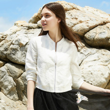 White Short Coat Women's Summer 2009 New Korean Jacquard Baseball Suit Loose Fashion Thin Jacket Sunscreen