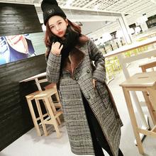 韩版冬季外套女加厚保暖中长款格子毛呢大衣原宿毛毛皮毛一体棉服