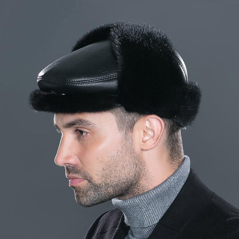 冬天雷锋帽男士经典绅士休闲帽整貂夹棉中老年户外保暖护耳 2018