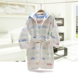 Children's bathrobe pure cotton gauze towel material spring and autumn boys and girls baby bathrobe cloak swimming bath cap bath towel