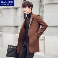 Winter wool woolen coat men's double-faced cashmere coat Korean version of the long section of thick Nizi windbreaker Nizi tide