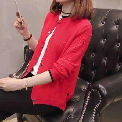 北薇2018秋季新款短款韩版时尚双排扣纯色针织外套女装上衣针织衫