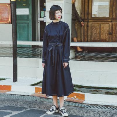 鹿与飞鸟原创日系秋装撞色线条宽松衬衫裙连衣裙 1585#