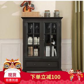 美式乡村实木双门酒柜现代简约风格黑色烤漆两门酒柜整装环保家具