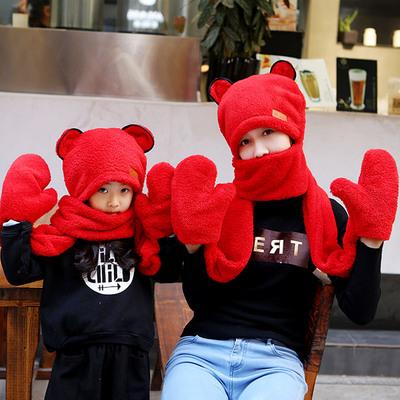 韩版亲子儿童宝宝帽子围巾手套三件一体套装秋冬季保暖加厚围脖帽