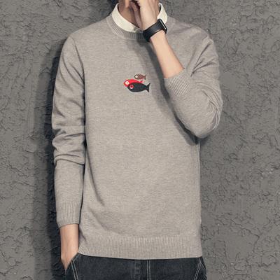 假两件毛衣男韩版秋季圆领潮流个性修身2018新款衬衫领针织打底衫