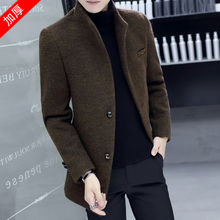 Wool woolen overcoat men's Korean version of the medium-long winter thicker woolen overcoat men's short handsome body-building windbreaker handsome