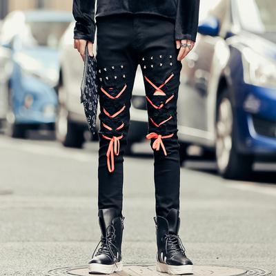 新款男士韩版修身小脚牛仔裤长裤个性铆钉绳子装饰潮流