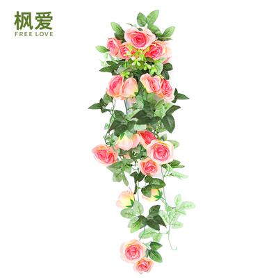 仿真玫瑰花藤条壁挂假花藤暖气管室内客厅装饰吊顶塑料花藤蔓植物