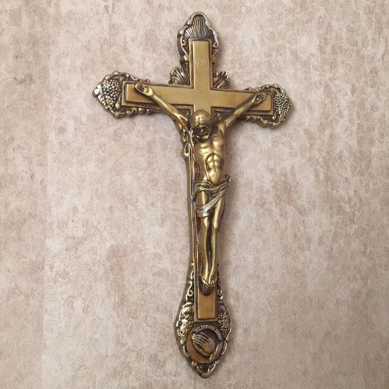 新款小号天主教基督教用品圣物壁挂件受难苦像耶稣十字架摆件客厅