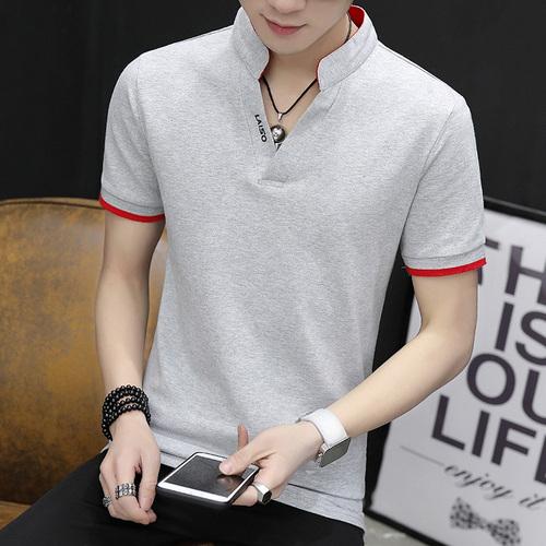 男装纯棉t恤夏季半袖潮流加肥加大码V领男士POLO衫韩版修身上衣服