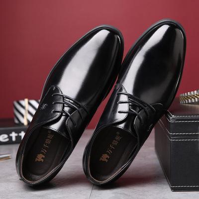 新款万千骆驼男鞋真皮尖头系带商务正装牛皮鞋韩版休闲男士婚鞋