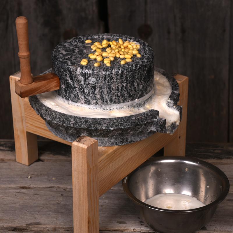 石磨盘小石磨家用青石米粉面粉机儿童手动老磨豆浆机镇宅迷你摆件