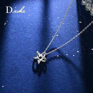 锁骨链女 韩国学生925纯银饰品简约个性吊坠情侣装饰挂件星星项链