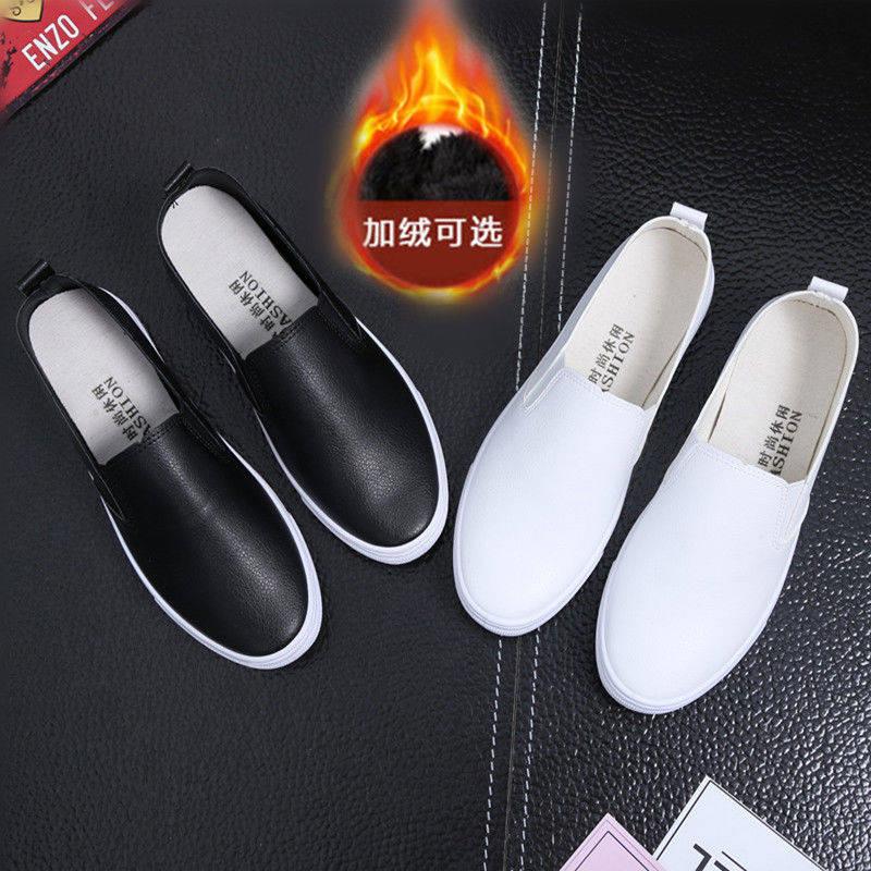 秋冬百搭白色护士鞋平底皮面一脚蹬棉鞋女鞋懒人鞋学生韩版小白鞋