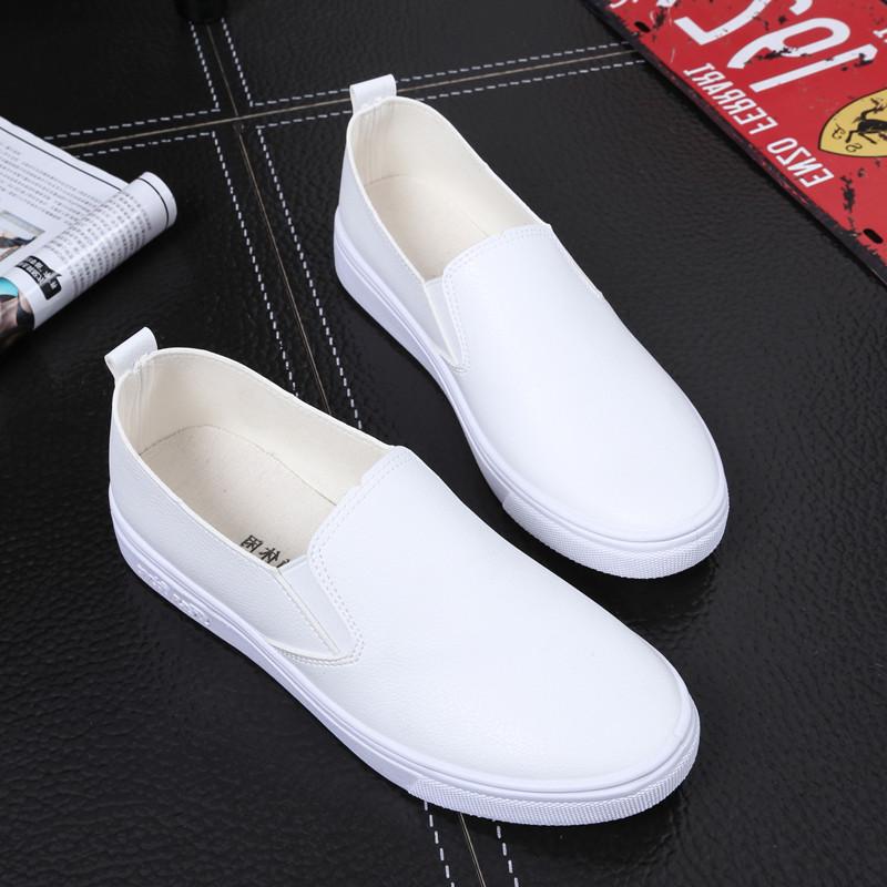 春季休闲小白鞋女透气百搭皮面学生鞋镂空懒人鞋一脚蹬平底布鞋女