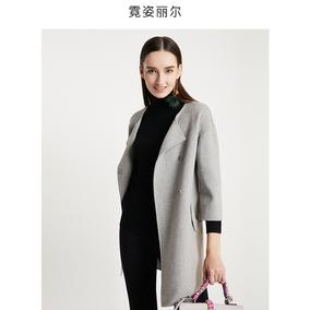 反季清仓霓姿丽尔新款全羊毛双面毛呢大衣宽松翻领七分袖外套女