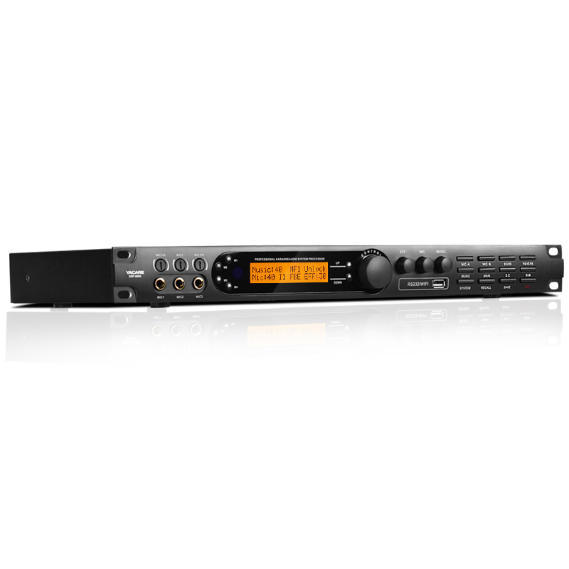 Yacare/雅桥 DSP-9600/9800防啸叫抑制器ktv前级效果器音频混响器