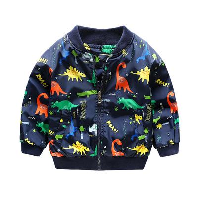 新款儿童男宝秋装外套薄款男童夹克小孩满印恐龙上衣服休闲棒球服