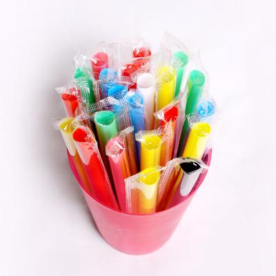 2000支一次性粗吸管奶茶豆浆果汁饮料塑料透明彩色独立包装长吸管