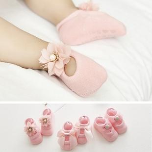 3雙裝新生兒公主襪寶寶蕾絲襪子嬰兒拍照可愛鞋襪夏薄款鏤空寶襪
