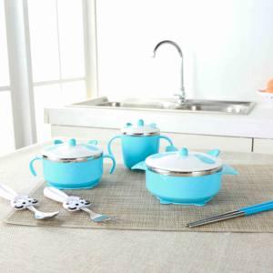 欧姿儿童餐具 婴儿304不锈钢防摔碗吸盘碗辅食碗勺套装 宝宝餐具