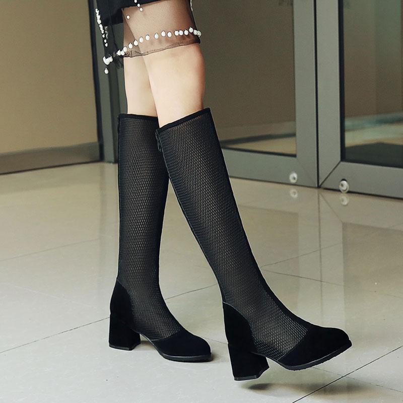 早春新款单靴女透气夏季网靴百搭黑色高筒镂空靴粗跟5CM中跟女靴