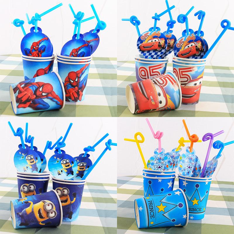 派对创意卡通宴会装扮6人装饰 生日用品餐具吸管 纸杯道具套餐