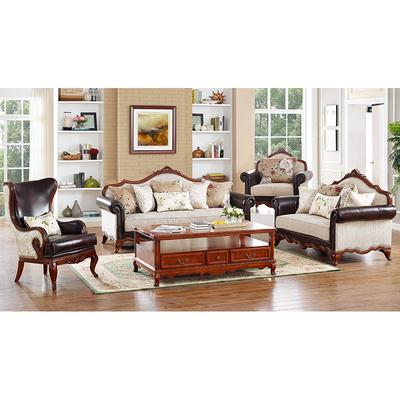 特价清仓美式客厅雕花皮布整装欧式木质真皮沙发U型组合家具