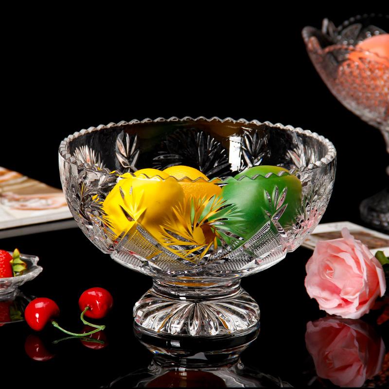 玻璃水果盘大果斗家用现代客厅茶几欧式创意摆件轻奢高脚透明果盆