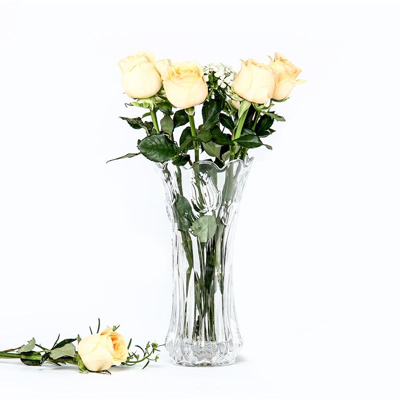 富贵竹百合玻璃花瓶加厚水竹干花水培欧式透明客厅餐桌插花摆件