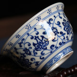 Hand-painted imitation Ming Qinghua tangled branches lotus pressure hand cup full-hand product cup Jingdezhen kiln straight camp