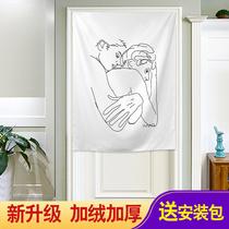 韩国风ins挂布简约门装饰背景布墙面抽象画相尤续眠半帘布壁挂画