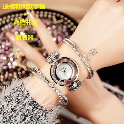 白领高端定制手表手镯套装女士手表时尚潮流镀金钛钢手镯手表礼盒新品特惠