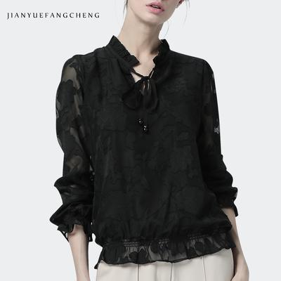 春收腰遮肚子雪纺衫女打底衫雷丝上衣黑色衬衫欧货小衫蕾丝衫衬衣