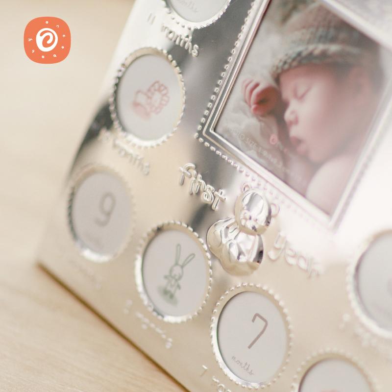 OnceBaby宝宝周岁相框儿童成长记录创意金属相片框摆台纪念礼物