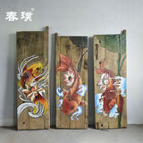 Old door panel creative background painting weathered door panel painting old elm painted Chinese style calligraphy plaque 匾 customizable pattern