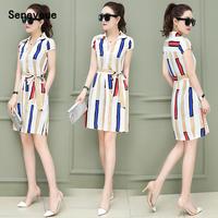 条纹连衣裙女夏季韩版2018新款女装修身时尚短袖打底裙中长款裙子