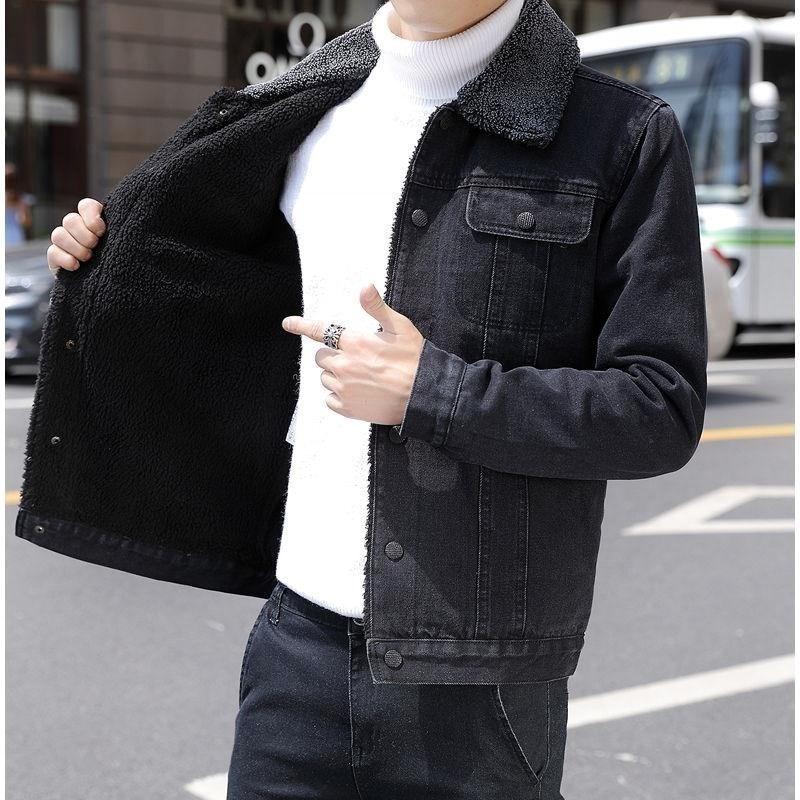 2018冬季加绒牛仔夹克男青年韩版休闲男上衣褂子修身加厚男士外套